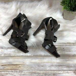 NWT $99 Zara Stiletto Strappy Heels Brown Size 7.5